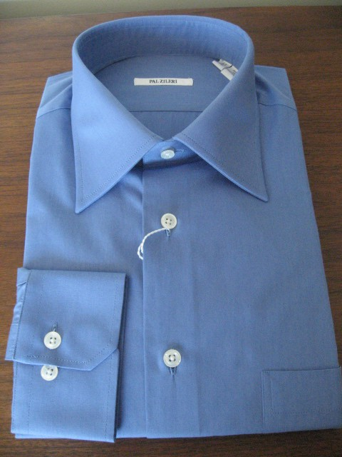 French Blue Button Cuff Dress Shirt