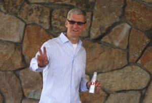This is how Apple CEO Tim Cook dressed while attending the 2012 Allen & Co Media Conference in Sun Valley, Idaho. With so many other corporate chiefs in attendance, you would think he would have considered tucking in his shirt and hiding his white crew neck T-shirt.