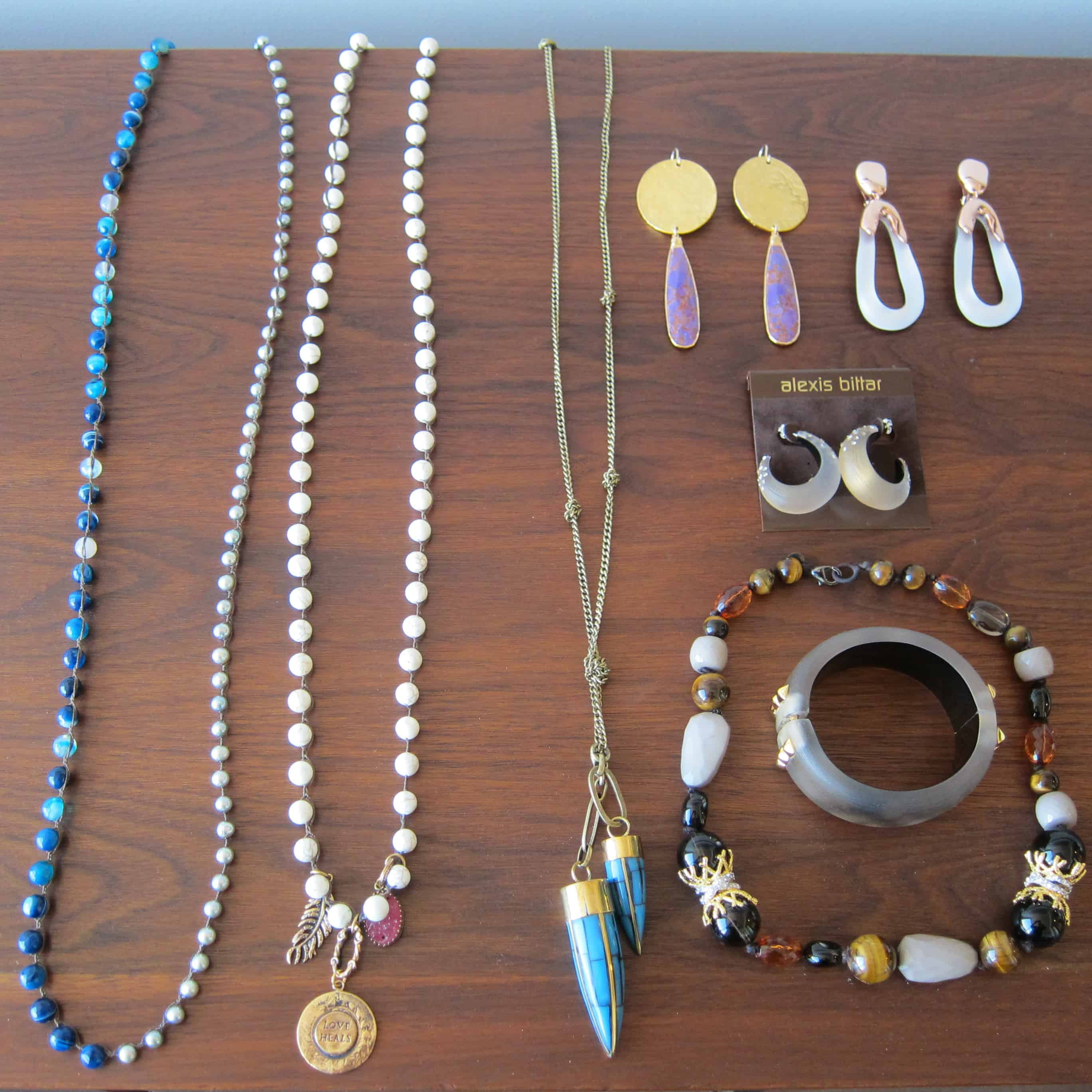 colorful earrings and necklaces