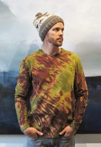 This is men's shibori-dyed T-shirt, created by textile artist and clothing maker Mary Jaeger. No one does what Mary is doing with shibori dyeing. Her modern approach to a dyeing technique that dates back to the 8th century is proof that she is a trailblazer.